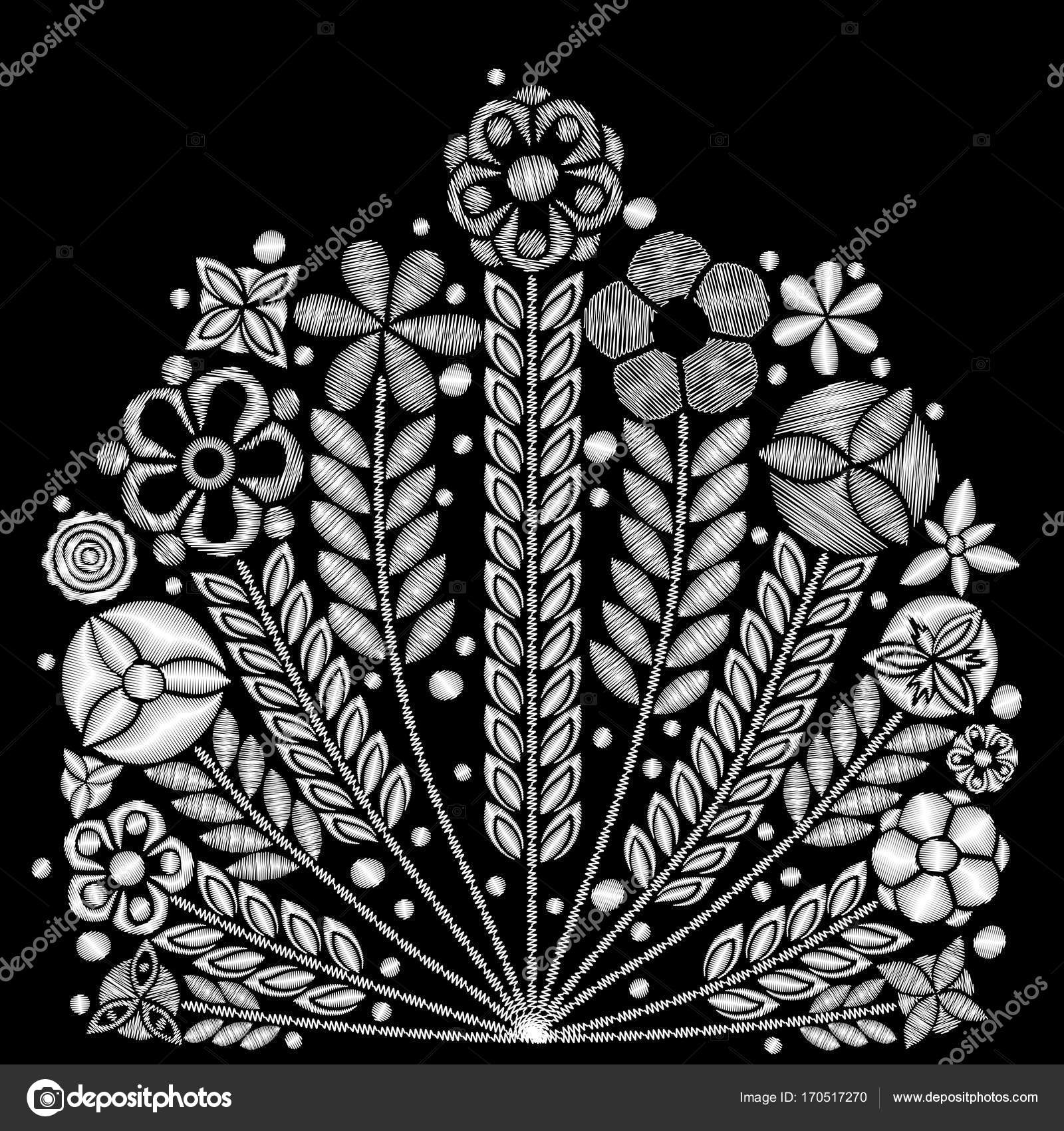 Black and white flower embroidery design. — Stock Vector ...