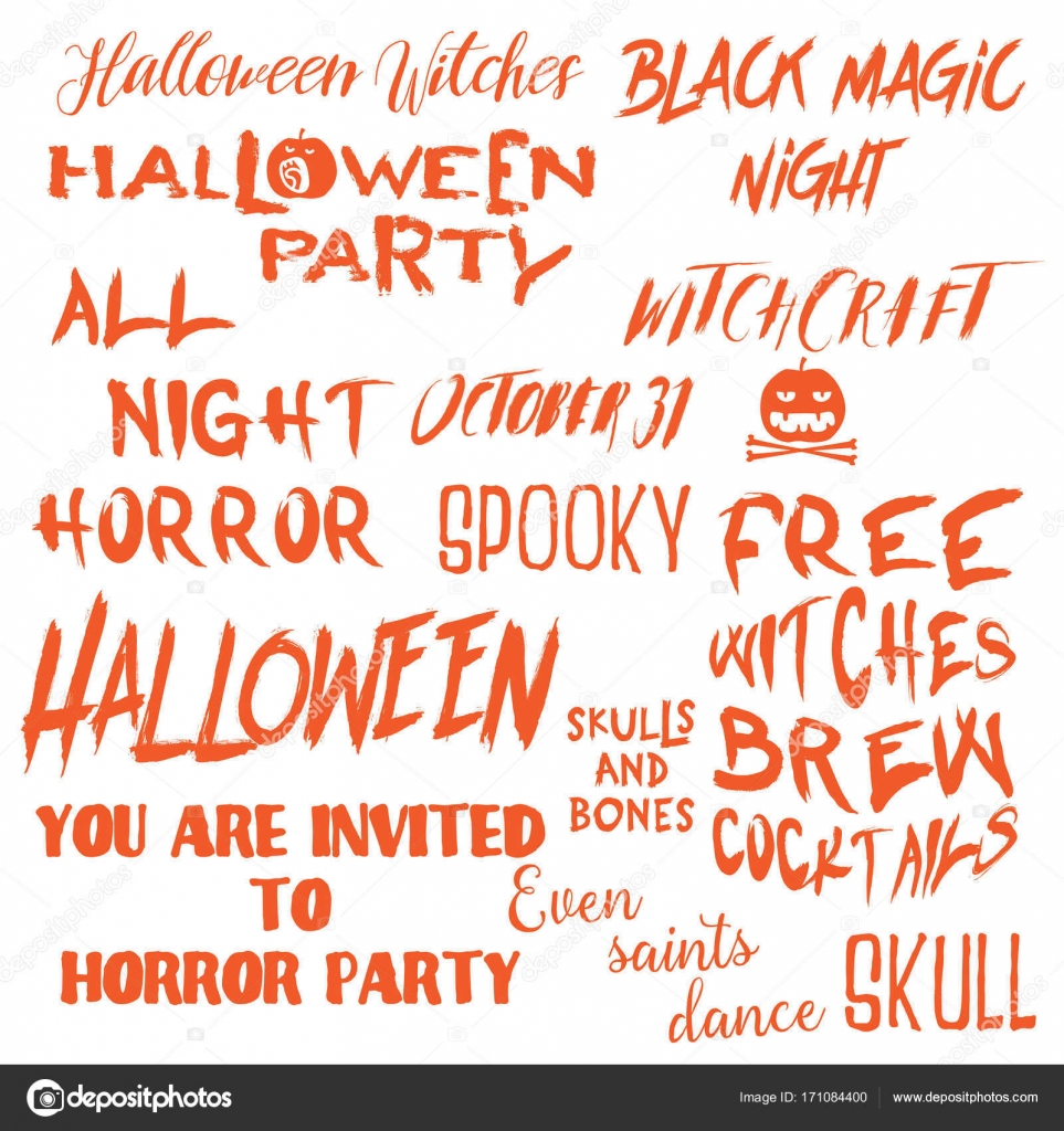 Set Of Halloween Quotes For Posters About Halloween Stock Vector