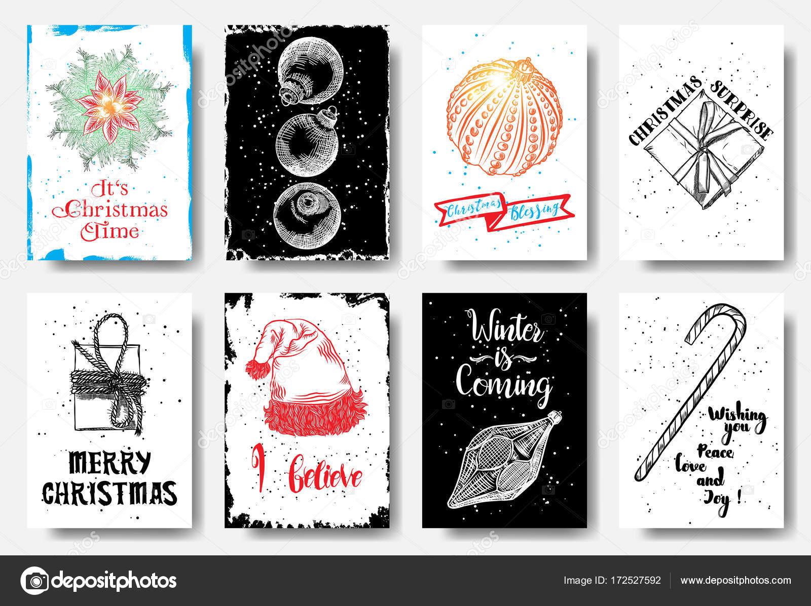 Kreative Weihnachtskarten.Moderne Und Klassische Kreative Weihnachtskarten Stockvektor