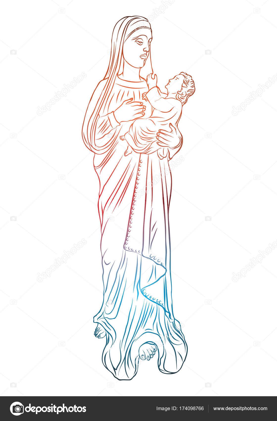 christmas nativity scene of virgin mary holding baby jesus stock