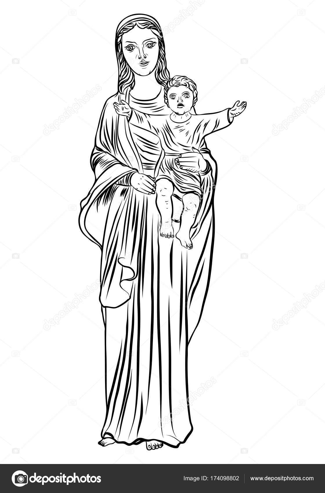 Art De Tatouage De Vierge Marie Image Vectorielle Goldenshrimp