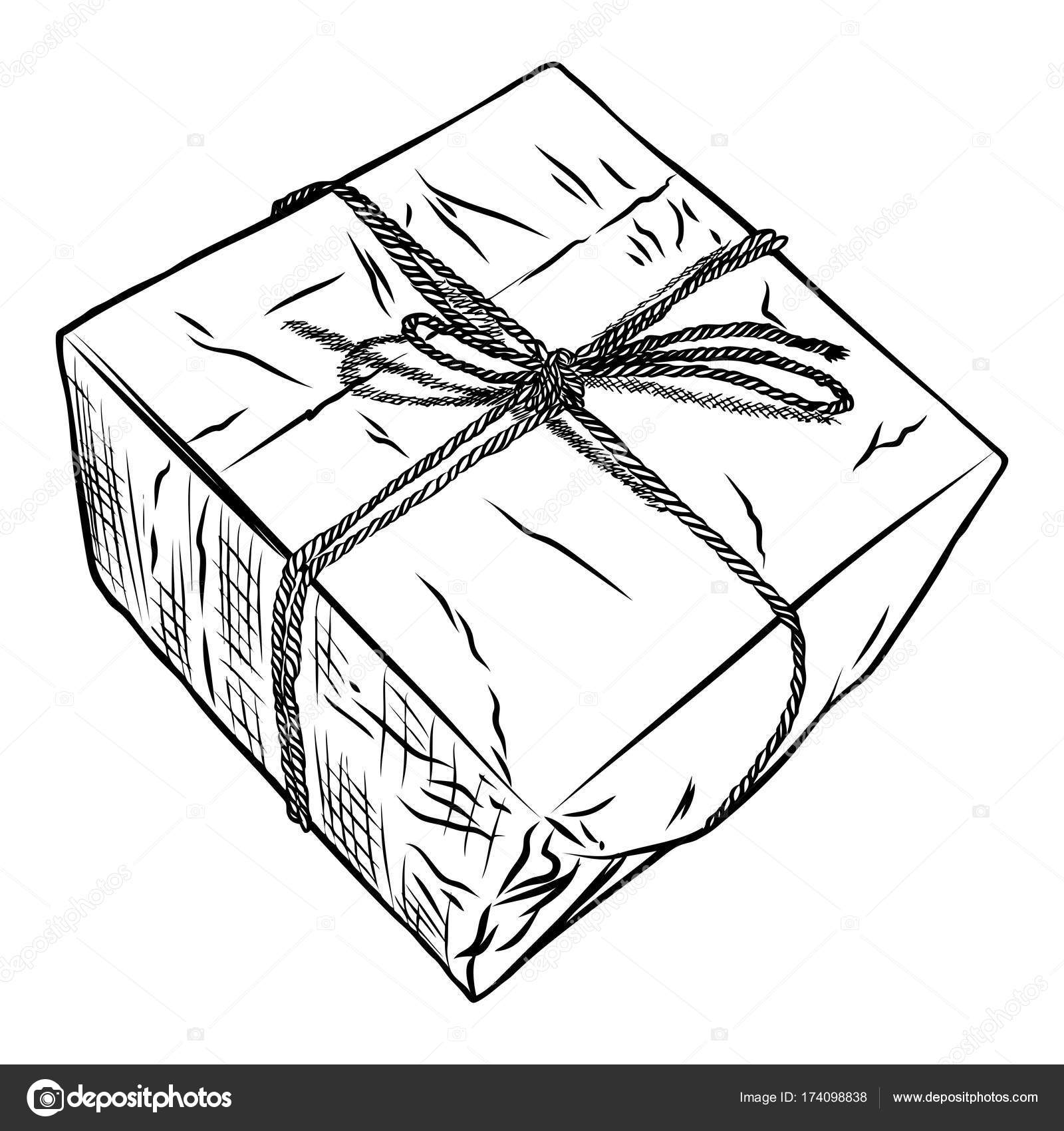 Gift Box Doodle Sketch Wedding Birthday Black Friday Concept Wrapped For Boxing New Year Christmas Idea Design Of Valentine Or Anniversary Day