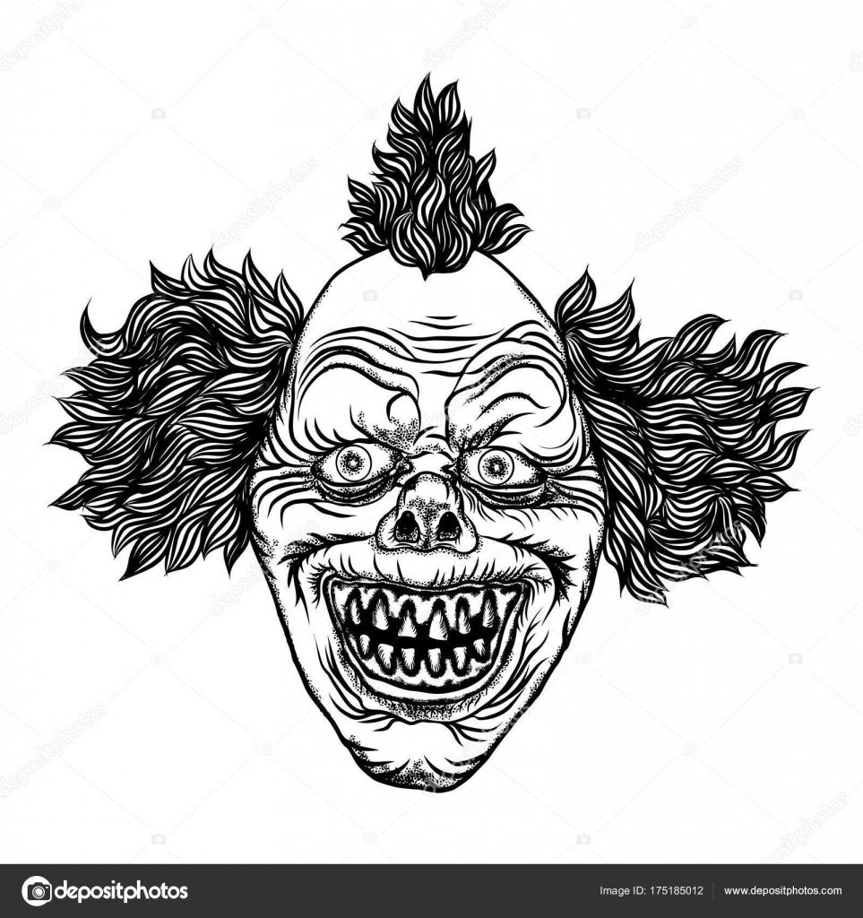 Méchant monstre effrayant de clown souriant  — Image