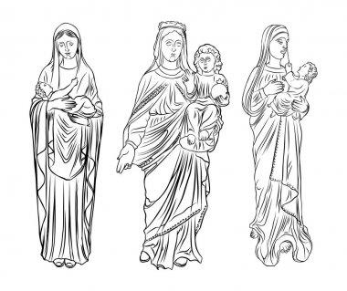 Set of Saint Mary holding baby Jesus.