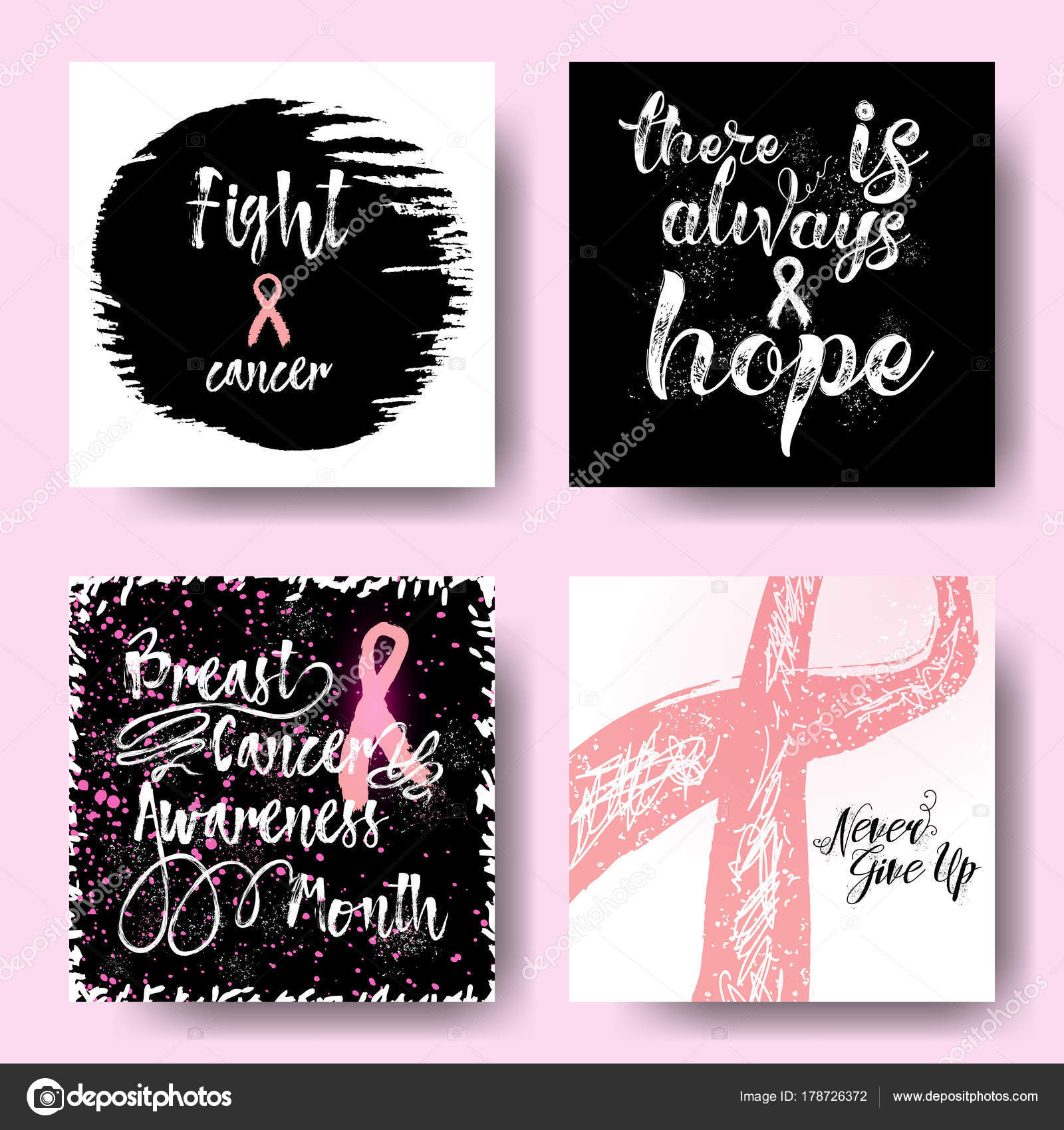 Set Of Pink Ribbons Symbols And Cards For October Breast Cancer