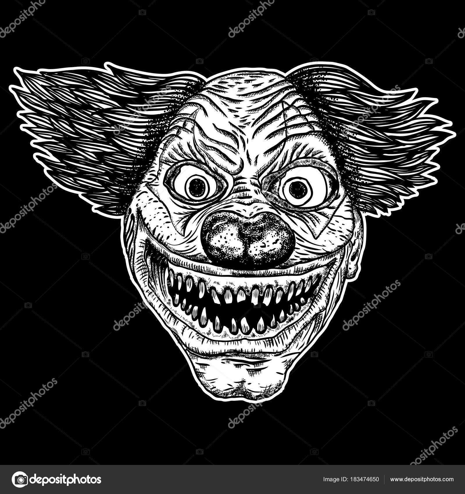 Monstre de clown effrayant mal avec gros nez et des dents
