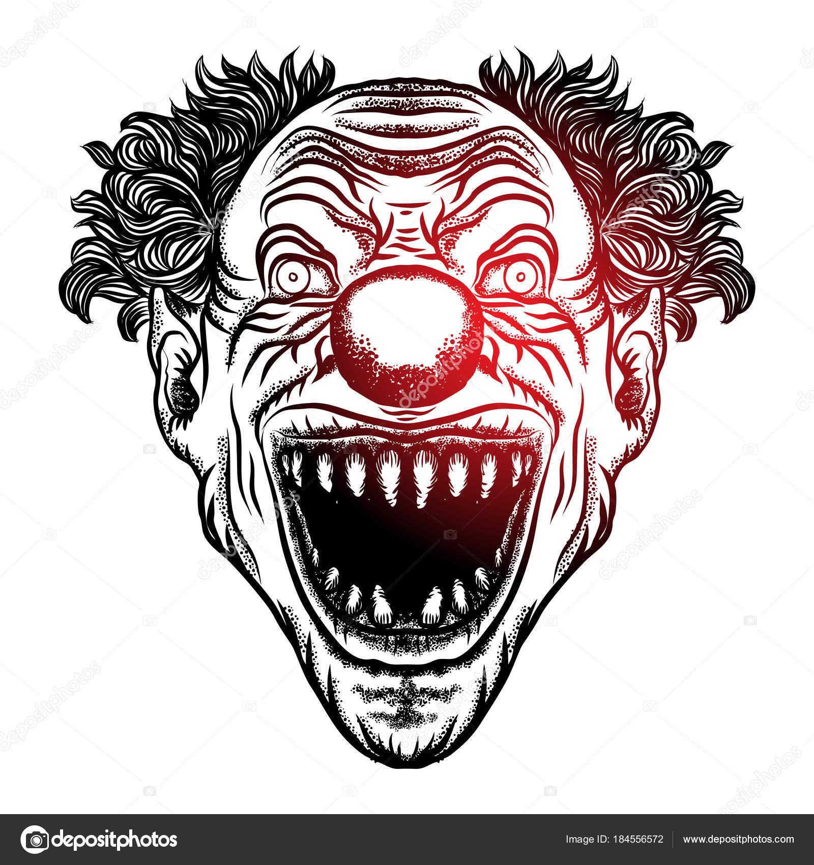 Ilustração Palhaço Assustador Dos Desenhos Animados