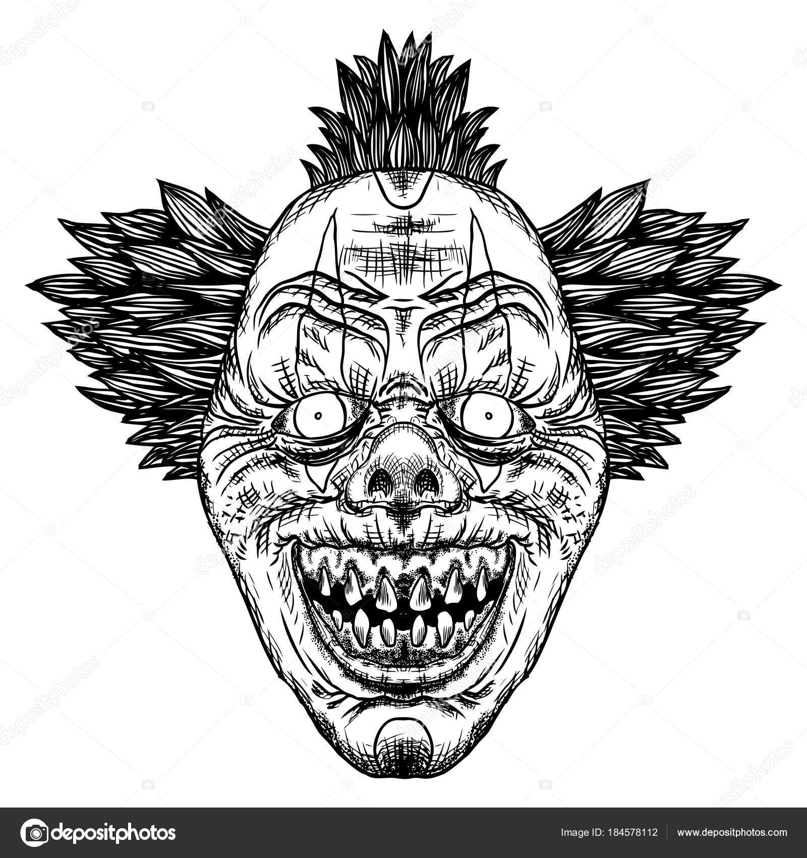 Scary Cartoon Clown Illustration Blackwork Adult Flesh Tattoo Concept  Horror — Stock Vector © goldenshrimp #184578112