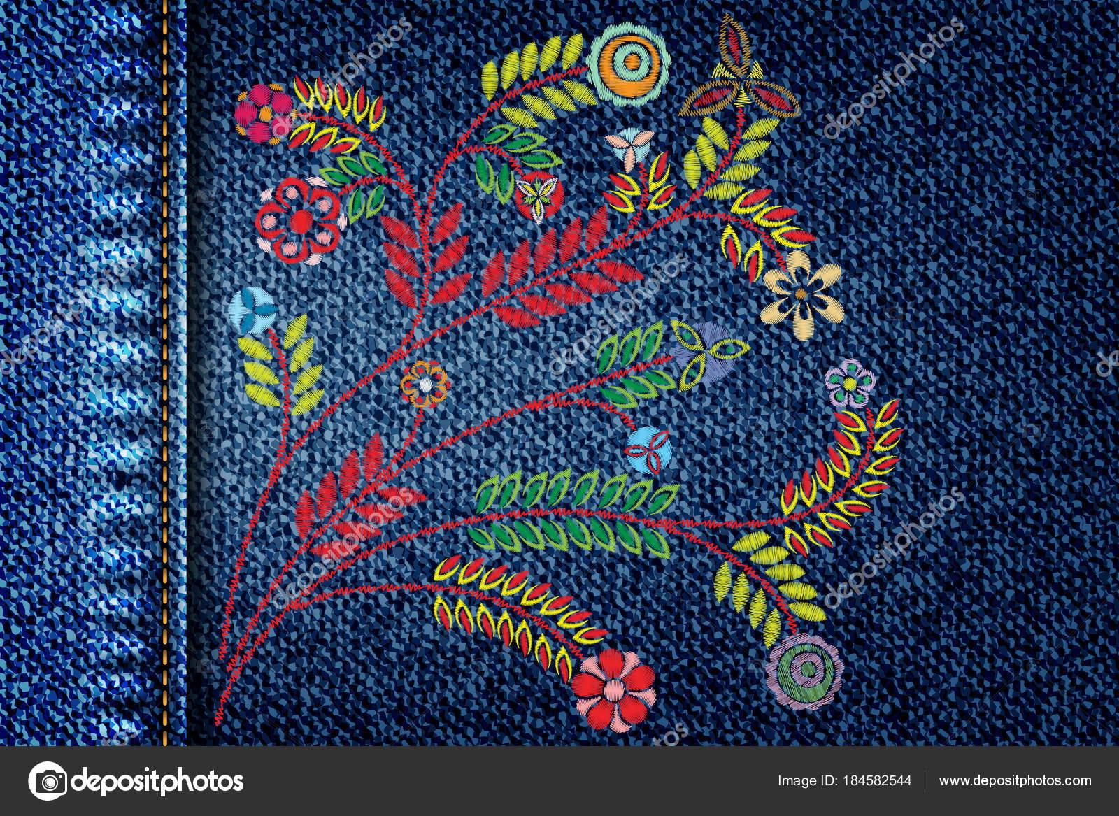 Mädchen Jeans Mit Stickerei Bunte Trend Blumenstrauß Textur ...