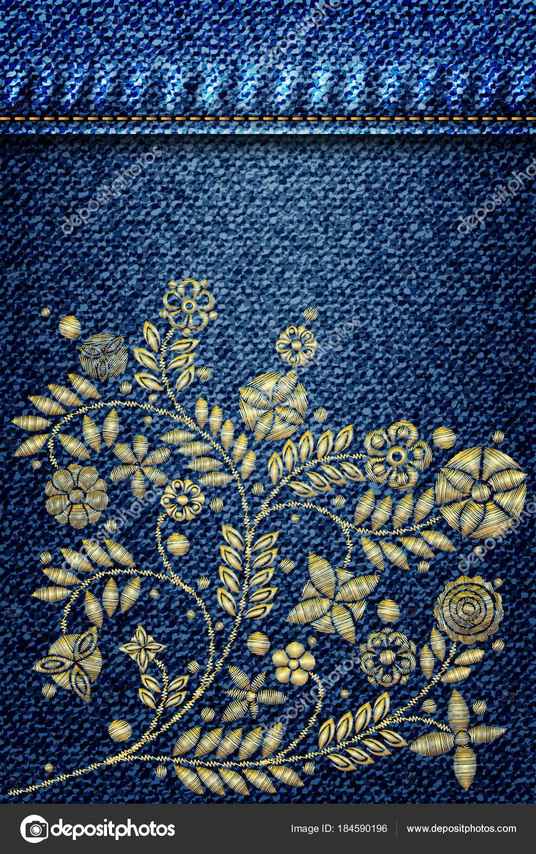 Diseño Bordado Flores Oro Línea Jeans Floral Étnico Bordado Corta ...