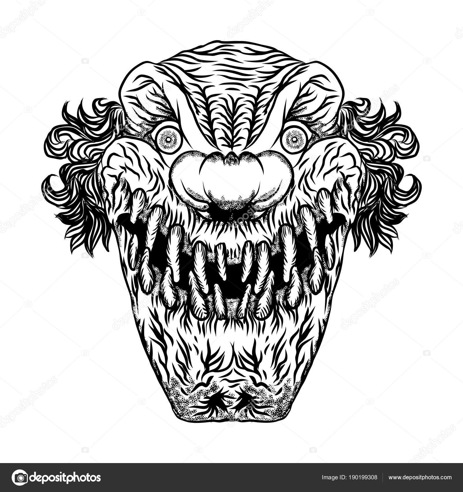Illustration de dessin anim effrayant de clown visage de - Dessin horreur ...