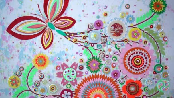 Jarní pozadí s květy kvetoucí akrylové techniky podání. Rostoucí květinové pozadí a kvetoucí botanický vzor zblízka, abstraktní svatební závěs kytice, die řezání řemesla.