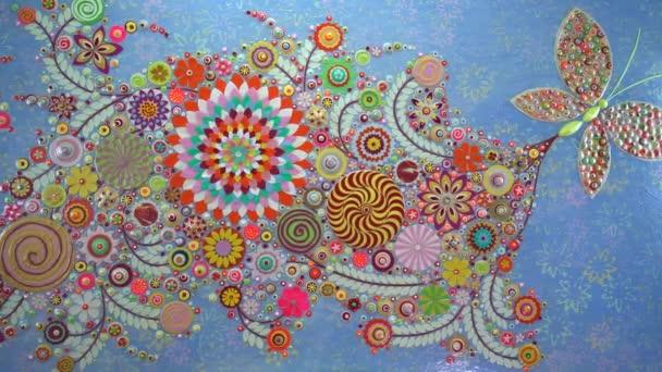 Jarní pozadí s květinami kvete. Abstraktní pozadí květin. Zavřít. Akrylové malby na plátně, 3d, tři, rozměrové reliéfy a řezby. Moderní umění, současné umění.