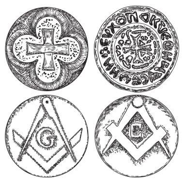 Set of decorative symbols. Circular decorative Christian religio