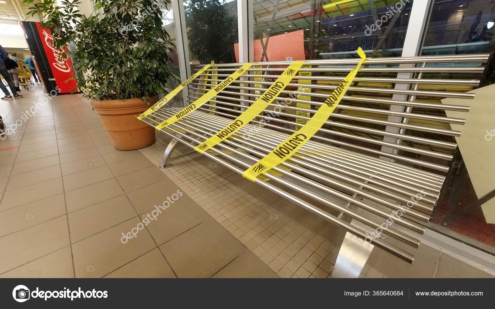 Toronto Ontario Canada April 2020 Yellow Caution Tape Wrapped Bench Stock Editorial Photo C Goldenshrimp 365640684