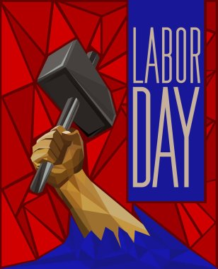 Strong Man's Hand Raising Up A Hammer - Labor Day Low Poly Poste