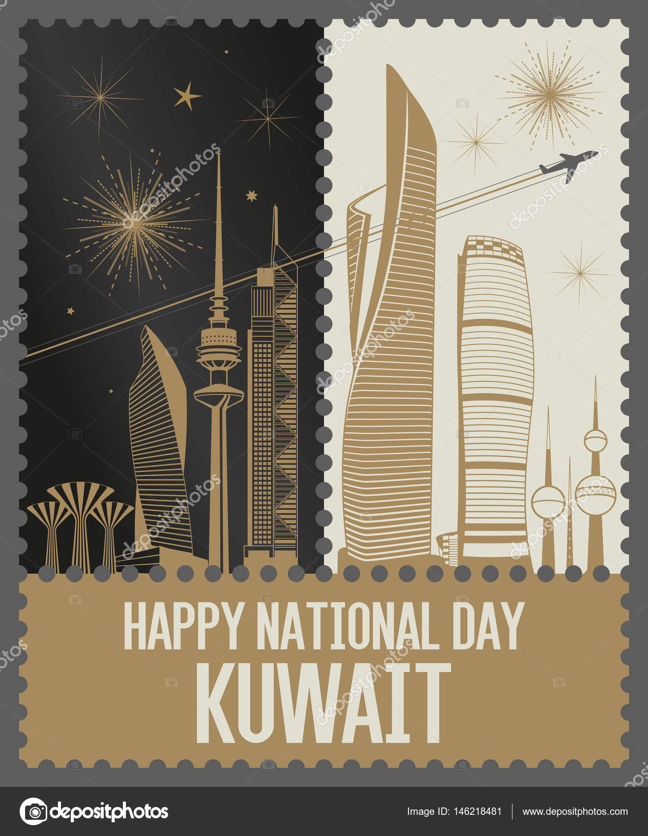 golden day and night kuwait national day fireworks stamps stock rh depositphotos com Fireworks White Background American Fireworks