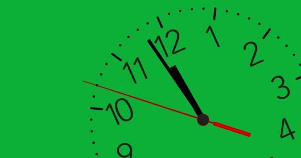 4 k Animované hodiny tikají 12 hodin s chroma key pozadí