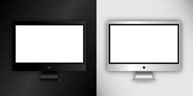 Computer monitor, isolated on black and white background. Can use for template presentation, web design and ui kits. Black and white electronic gadget, device mockup. Vector illustration, eps10