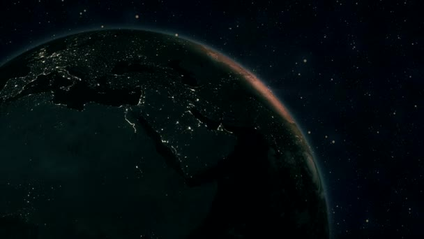 Sunrise view from space on Planet Earth. Africa and America zone. World rotating on its axis in black Universe in stars. High detailed 4k 3D Render animation. Elements of this image furnished by NASA