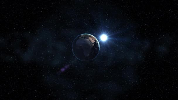 Space view on Planet Earth and Sun Star rotating on axis in black Universe. Seamless loop with day and night city lights. High detailed 4k, 3D Render animation. Elements of image furnished by NASA