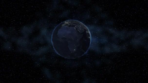Terra Realistica Rotazione Nello Spazio Contro Sfondo Del Cielo