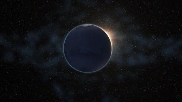 Napkelte megtekintése a Marson v. sugarakat az űrből. Vörös bolygó közel fel forog, forog a tengelye fekete univerzumban a csillagok. Nagy részletességgel 4k. animáció, 3D render. Ez a kép a Nasa berendezett elemei
