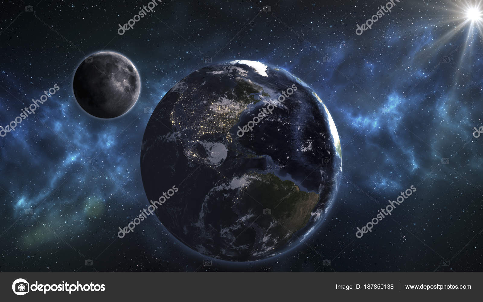 Moon And Earth Wallpaper Blue Earth And Moon In The Space