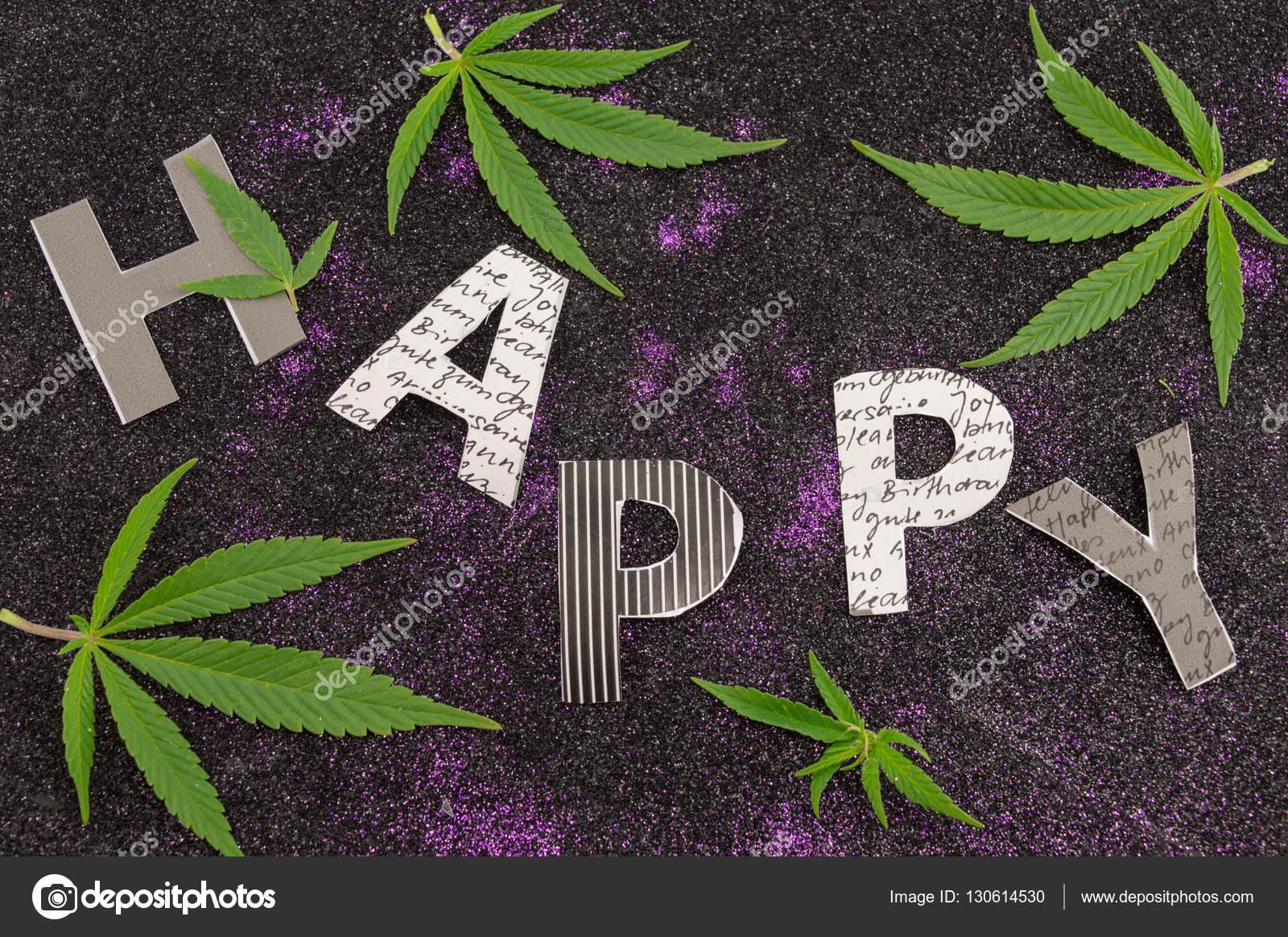 Imagenes Hojas De Marihuanas Con Frases Palabra Feliz Rodeado De