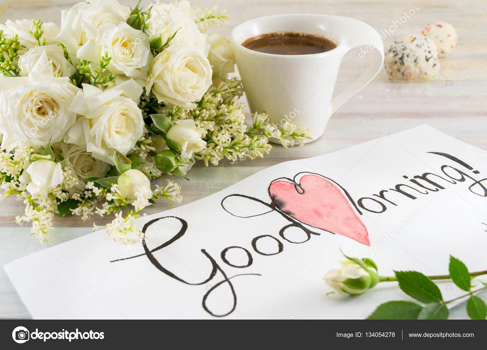 White Roses Coffee And Good Morning Note Stock Photo