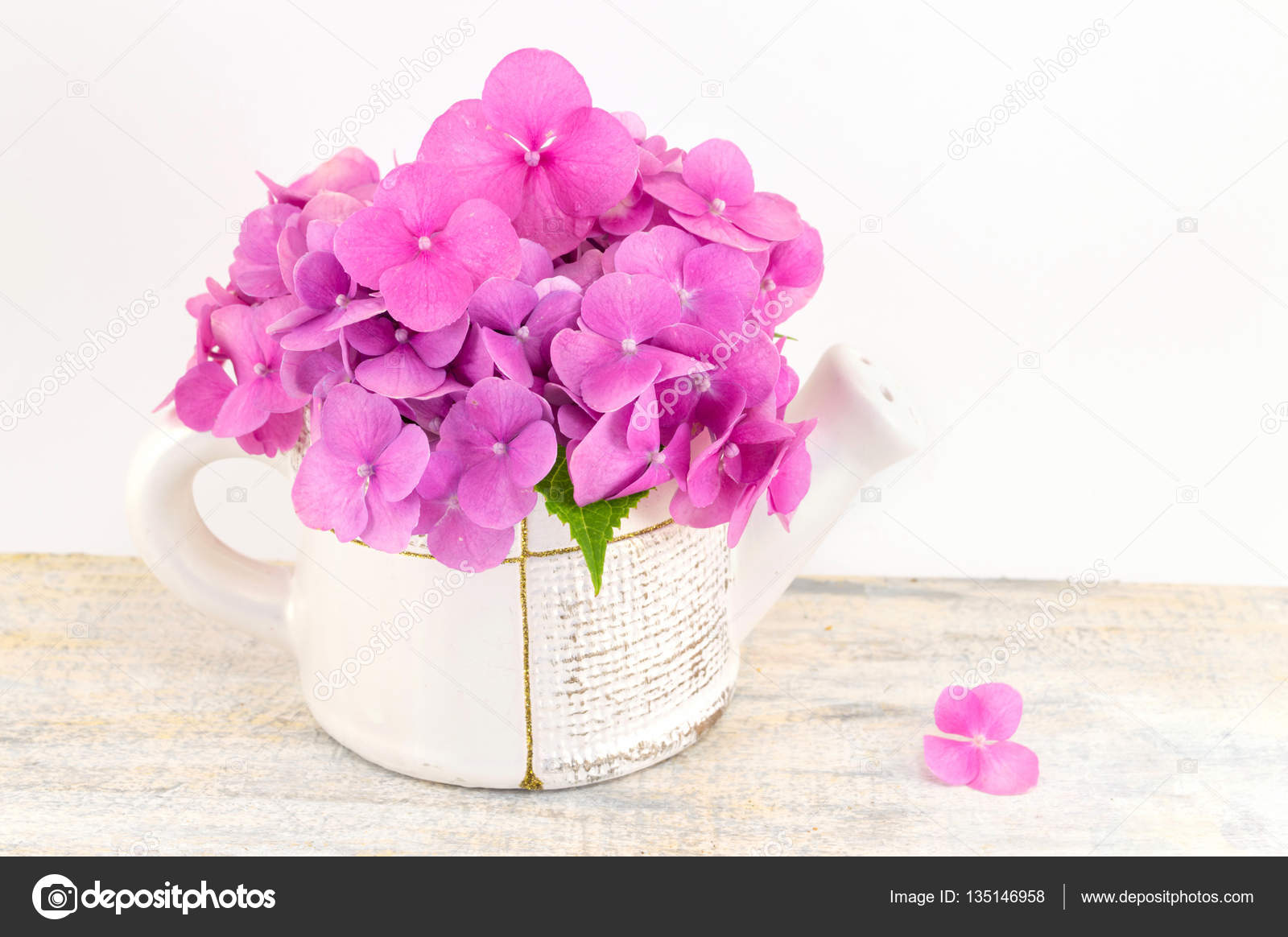 Bunch Of Hortensia Pink Flowers In A Vase Stock Photo