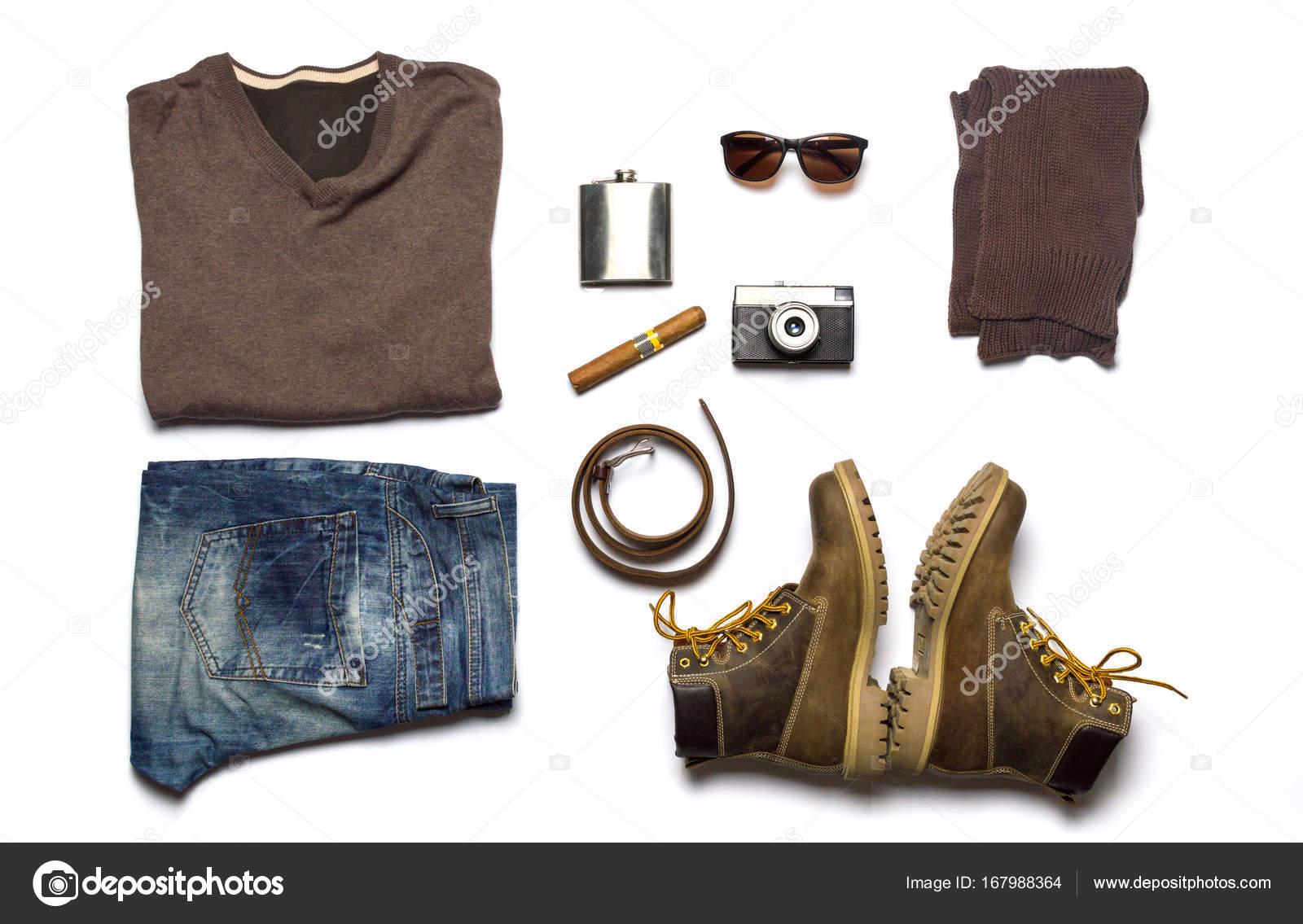 男性ファッション小物フラット置く分離 \u2014 ストック写真