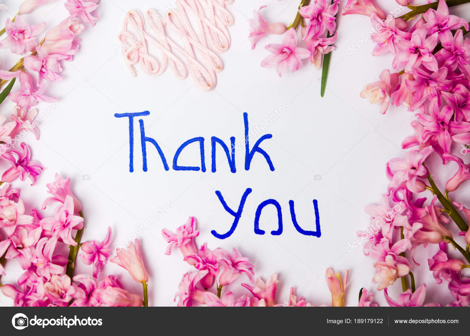 thank you note with hyacinth spring flowers arrangement stock photo