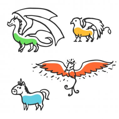 Set of cute little cartoon mythical beasts