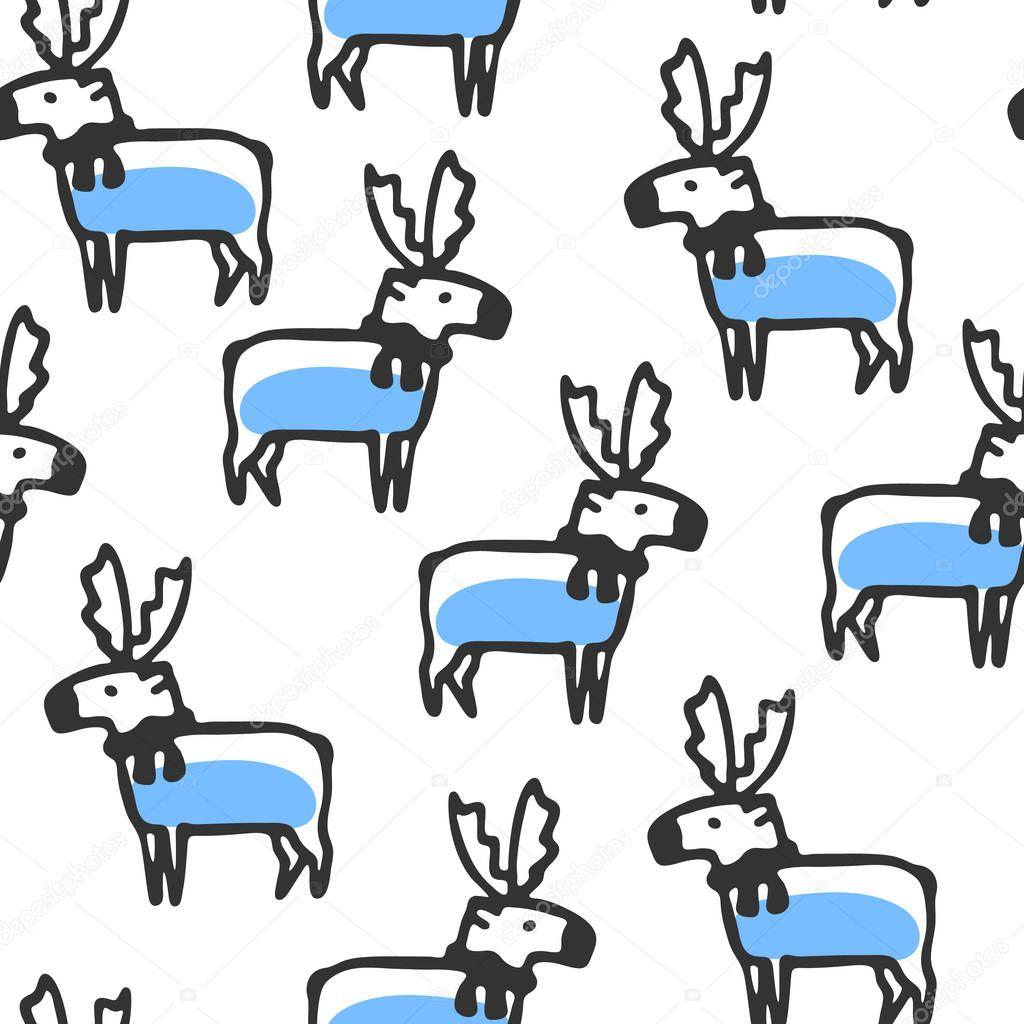 Patrón sin fisuras con doodle lindo Reno — Archivo Imágenes ...