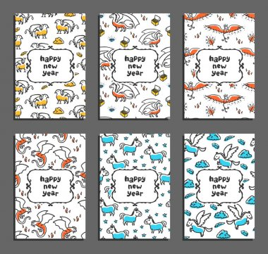 Set of happy new year greeting card with mythical beasts