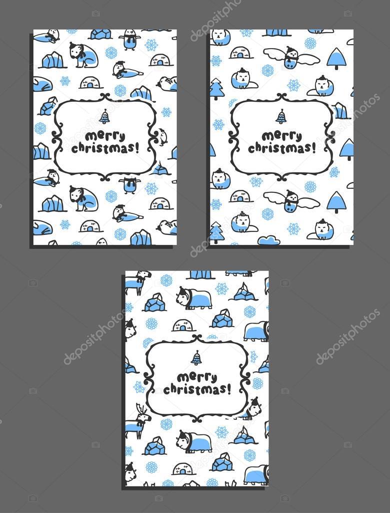 Conjunto de plantillas de tarjeta de Navidad feliz con los animales ...