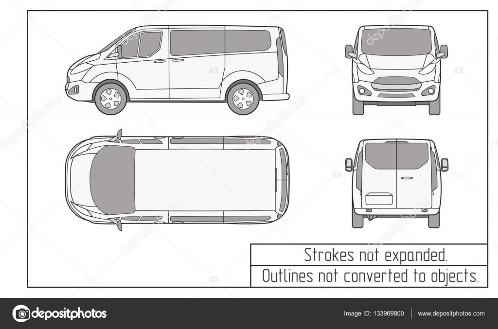 van coche contornos no convertidas a los objetos de dibujo — Archivo ...
