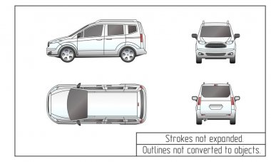 car van drawing outlines not converted to objects