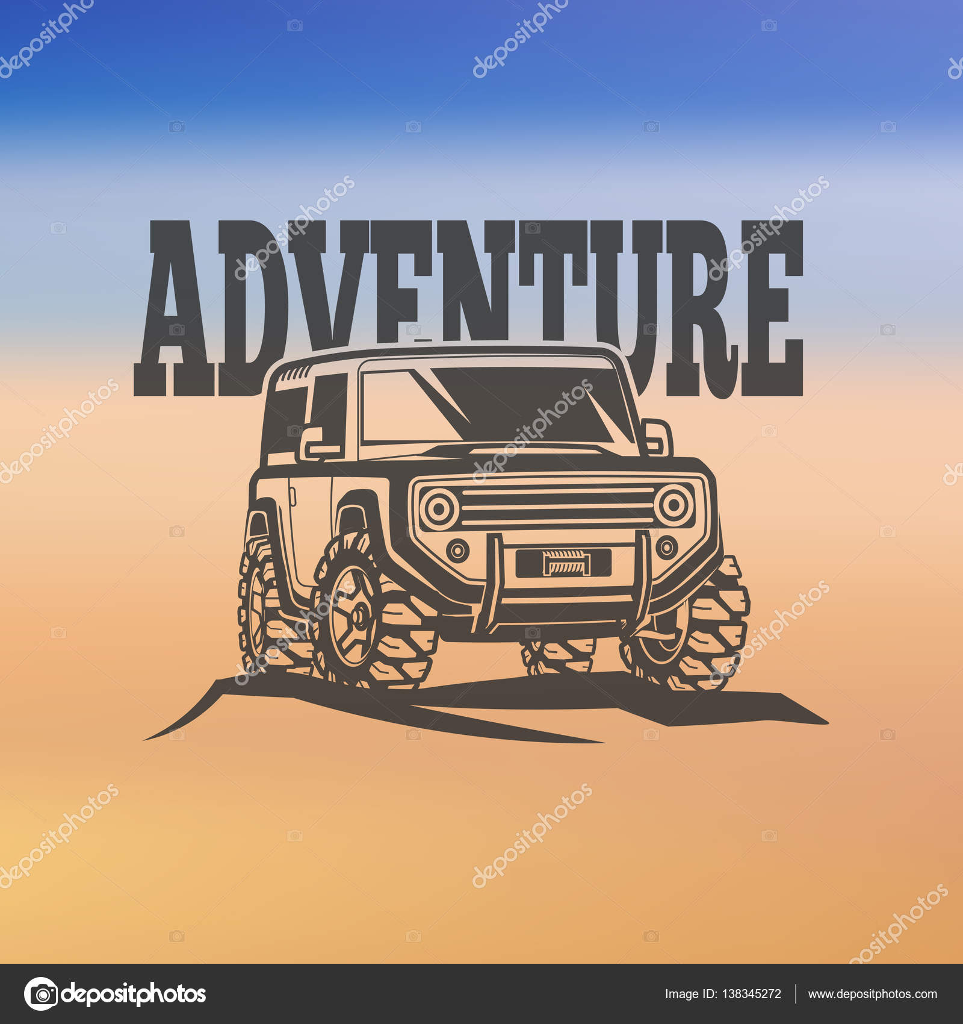 Off Road Suv Car Monochrome Labels Emblems Badges Or Logos On