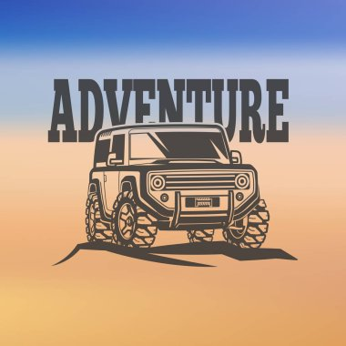 off-road suv car monochrome labels, emblems, badges or logos on blurred background. Off-roading trip