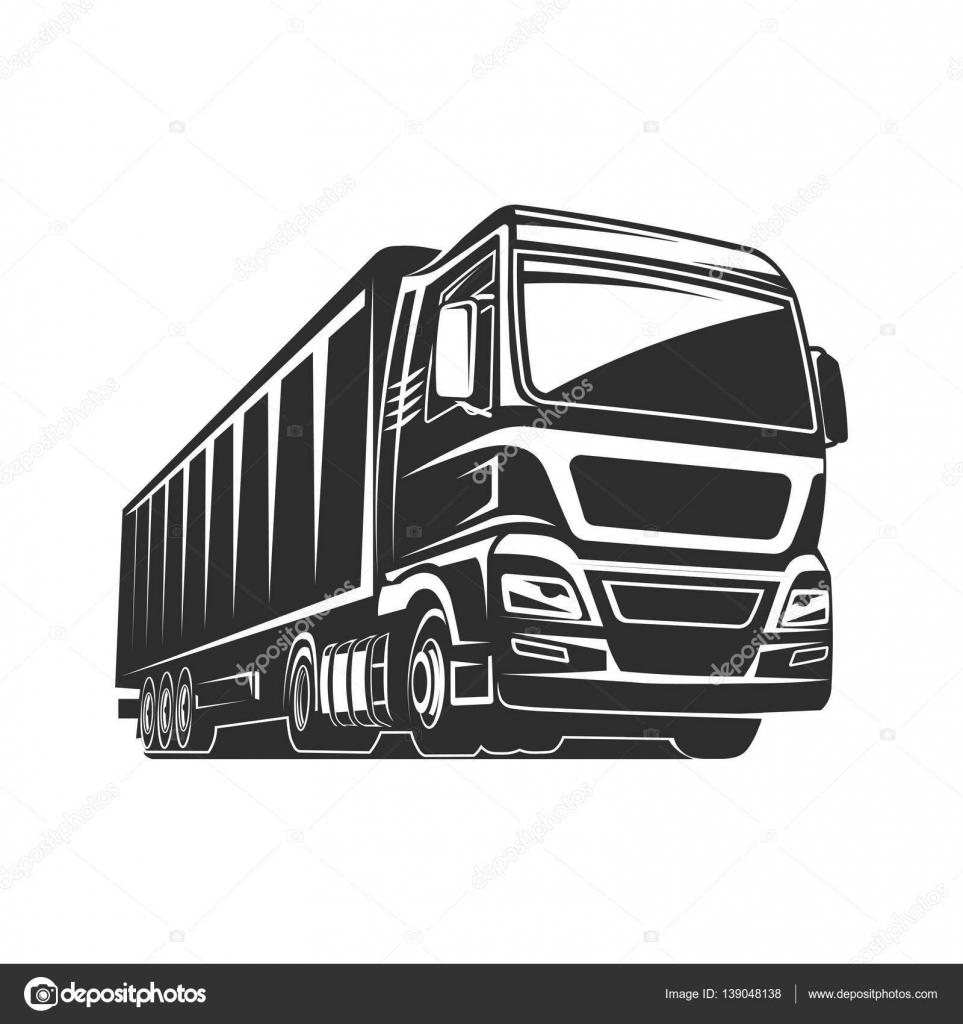 Plantilla de logo de carga de camión carga silueta — Vector de ...