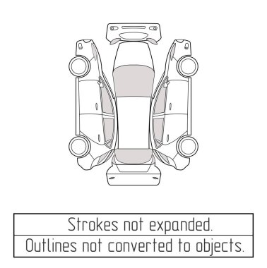 car hatchback drawing outlines not converted to objects