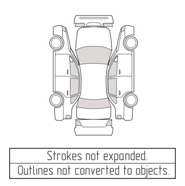car sedan drawing outlines not converted to objects