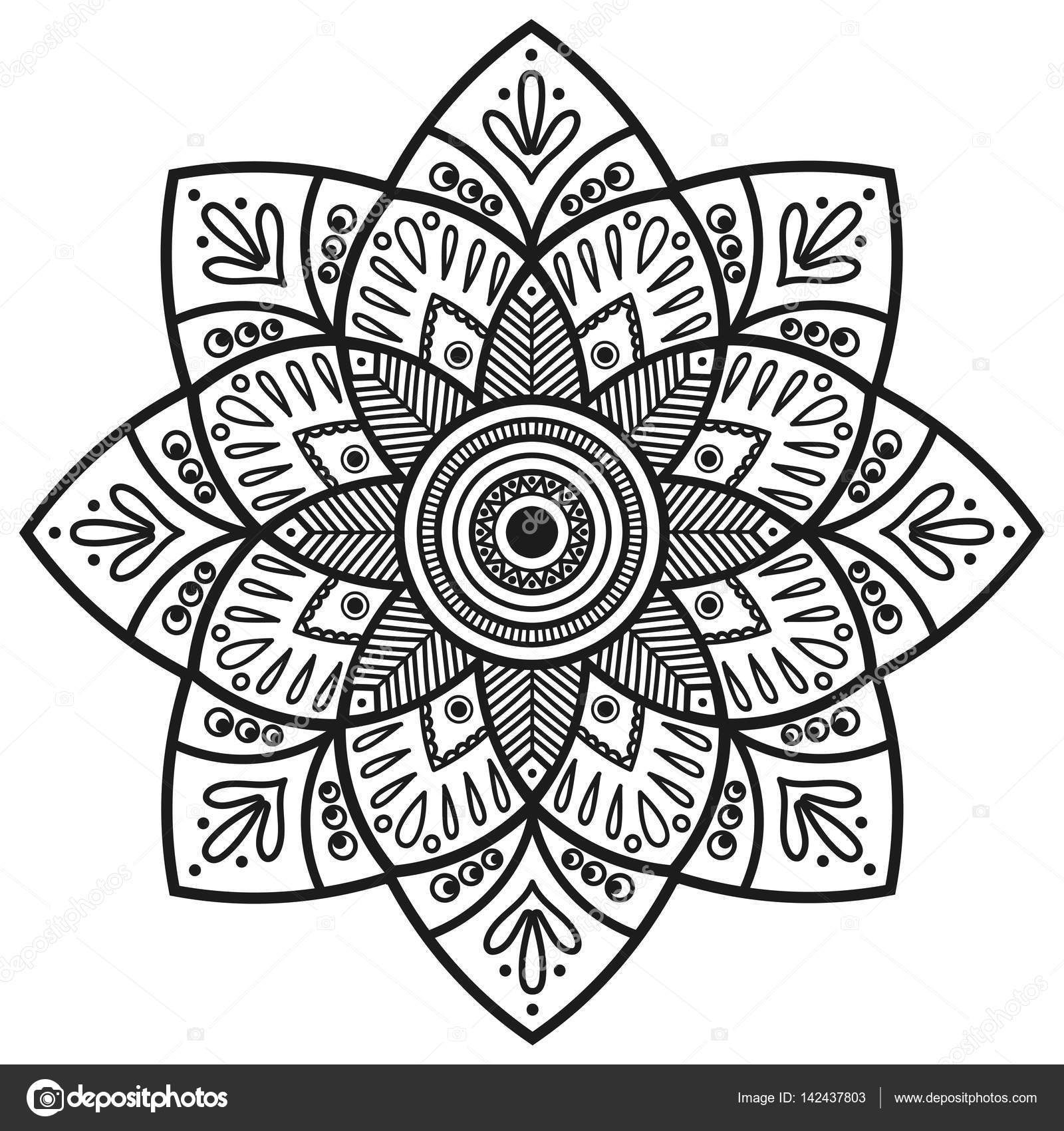 Mandala. Indische antistress Medaillon. Abstrakte islamischen Blume ...