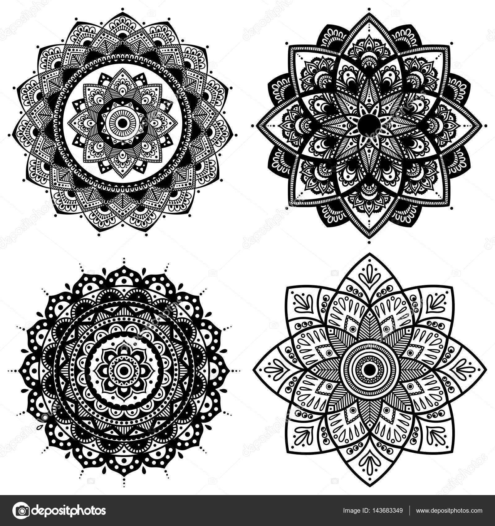 Mandala-Set. Indische antistress Medaillon. Abstrakte islamischen ...