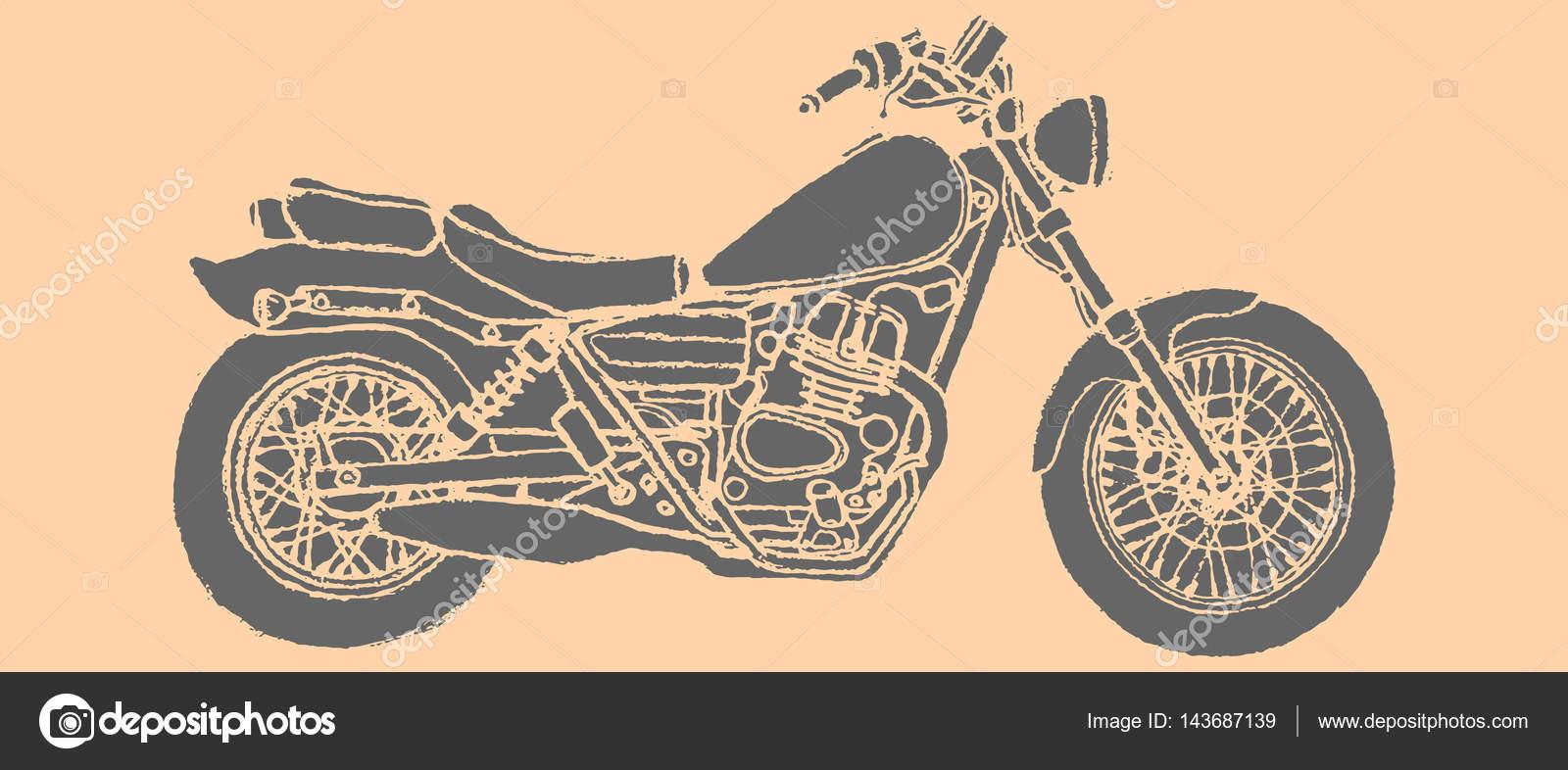 Imágenes Moto Para Dibujar Vista Lateral De Motos Dibujo Mano