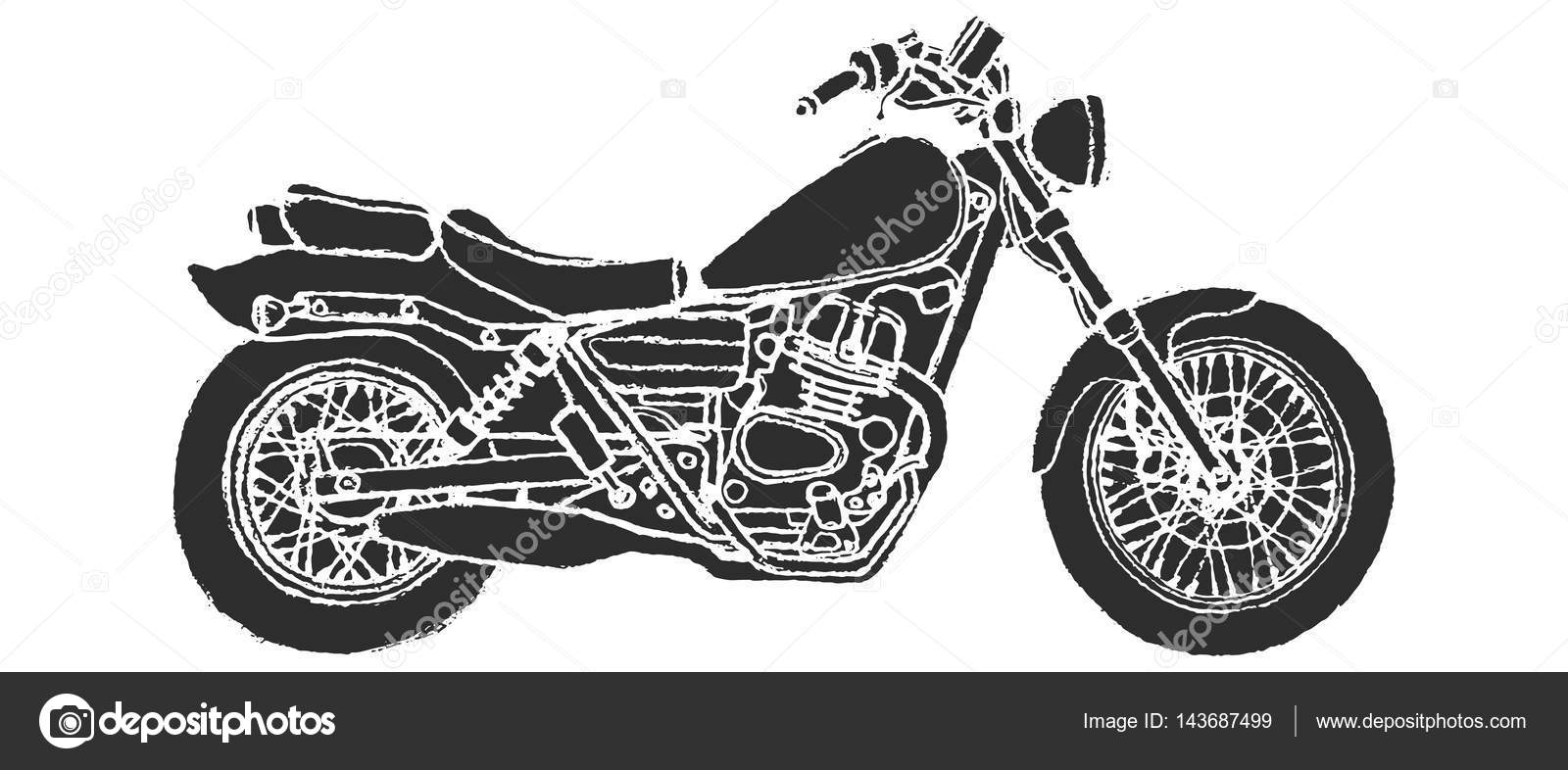 Motor De Moto Dibujo Vista Lateral De Motos Dibujo Mano