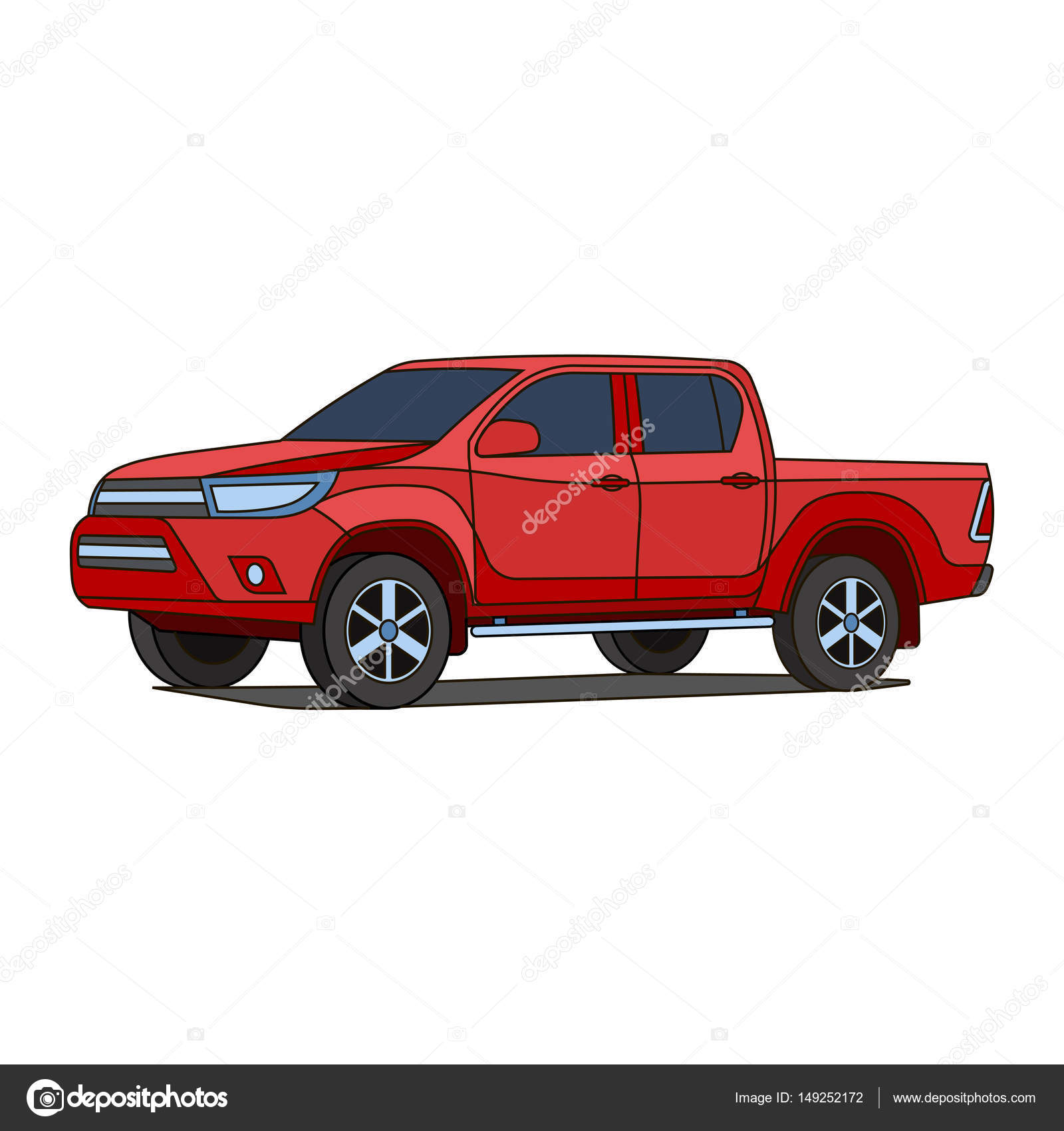 Ilustración De Vector Rojo Camioneta