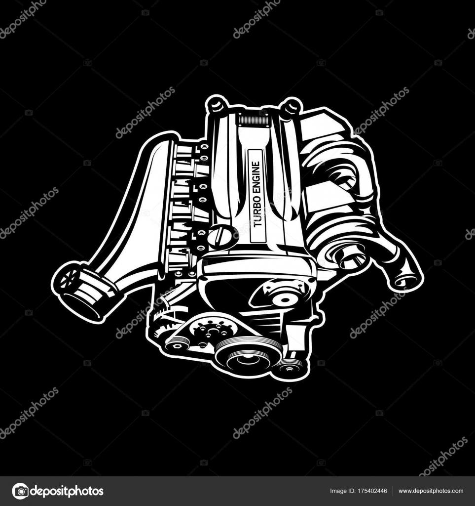 Auto Motor Turbo Muscle-Car Speedster Abbildung — Stockvektor ...